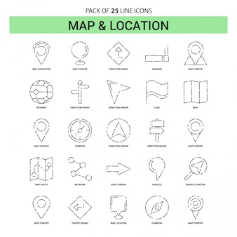 Map and location line icon set - 25 dashed outline style