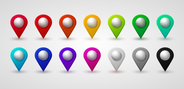 Map location pointer 3d arrow color navigation icon for web banner logo or badge 3d style