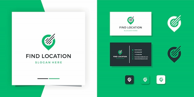 Map logo or find location logo design with business card design