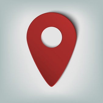 Map marker icon with an oval gradient in smooth pattern. the red sphere isolated from the white background web design