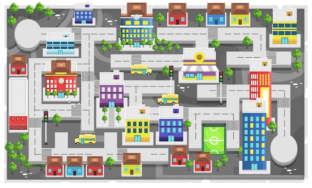 Карта современного города с тропинкой и домом, школьным зданием, автобусной школой, башенным зданием и футбольным полем для 2d game platformer.