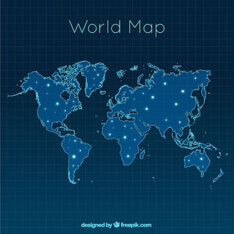 Map of the modern world with bright spots