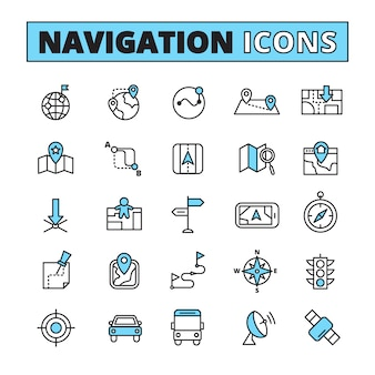 Map navigation for finding location symbols on your phone tablet outlined pictograms set abstract isolated vector illustration
