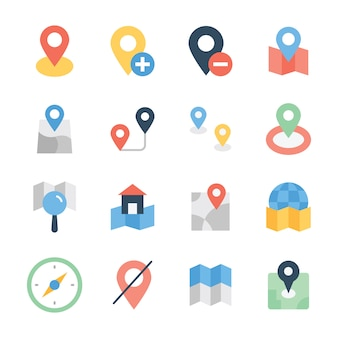 Map navigation flat icons pack