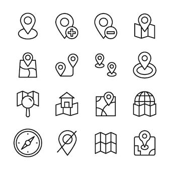 Map navigation line icons pack