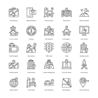 Map navigation line icons