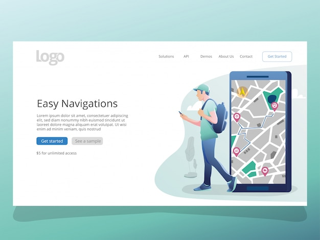 Map navigations illustration for landing page template