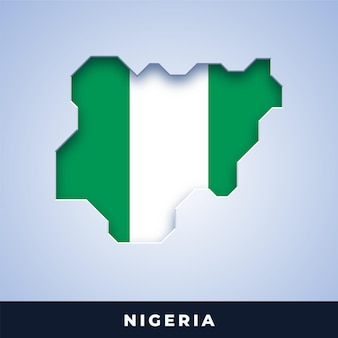 Map of nigeria with flag