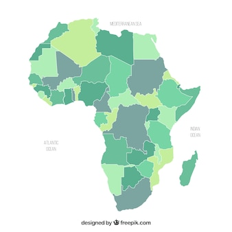 Карта африки в плоском стиле