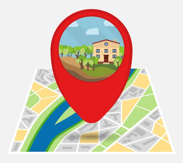 외로운 집이 있는 지도에 점이 있는 가상의 도시 지도. 벡터 일러스트 레이 션.