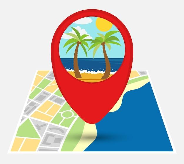 모래 해변이 있는 지도에 점이 있는 가상의 도시 지도. 벡터 일러스트 레이 션.