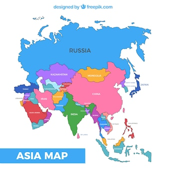 Map of asia continent with different colors