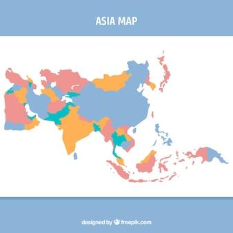플랫 스타일의 아시아지도
