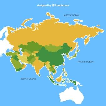 フラットスタイルのアジアの地図