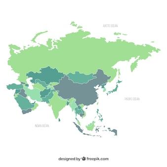 Карта азии в плоском стиле
