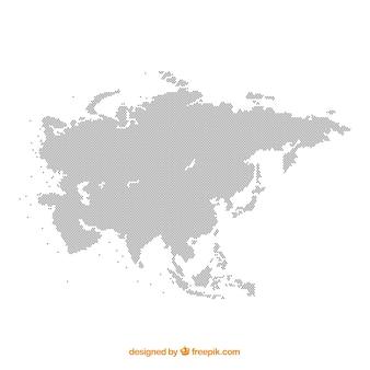 색상의 점이있는 아시아의지도