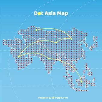 アジアの色の点での地図
