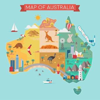 Карта австралии. красочные достопримечательности. векторная иллюстрация