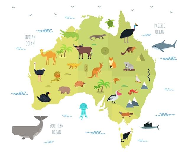 その上に住んでいるかわいい漫画の動物とオーストラリアの地図。オーストラリア大陸に生息する面白い漫画の哺乳類、爬虫類、鳥。教育ポスターのフラットスタイルのカラフルなベクトルイラスト。