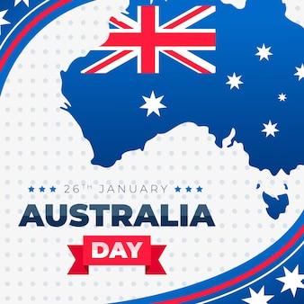 Карта австралии с флагом плоской конструкции