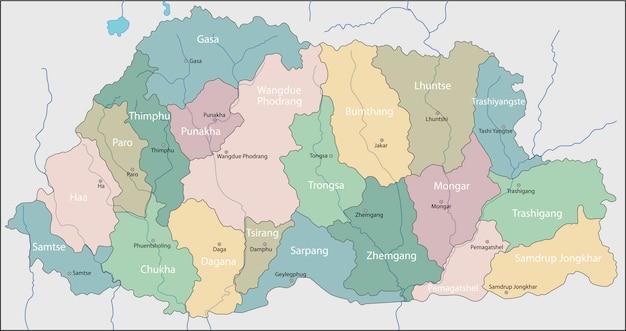 부탄의지도.