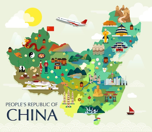 Карта достопримечательностей китая вектор и иллюстрации.