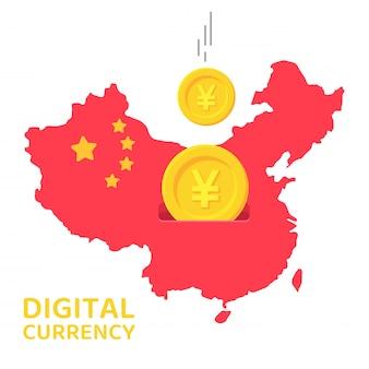 Карта китая, которая похожа на копилку мира, когда китай принял цифровую валюту юань.