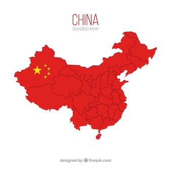 国境のある中国の地図