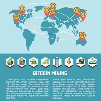 世界のビットコインの流通の地図。ベクトルイラスト。ビットコインマイニングアイコンセット。