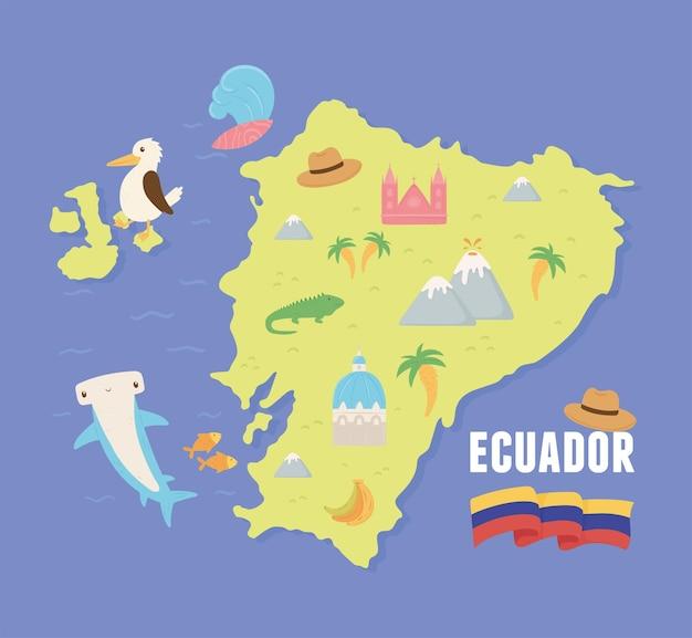 典型的な機能を備えたエクアドルの地図