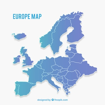 Map of europe with colors in flat style