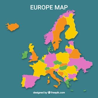フラットスタイルの色を使ったヨーロッパの地図