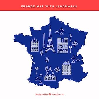 랜드 마크와 프랑스의지도