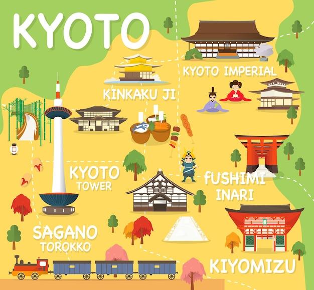京都のアトラクションの地図ベクトルとイラスト。