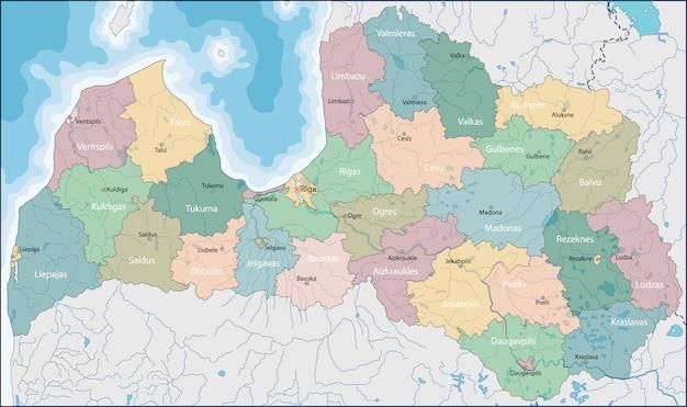 라트비아의지도