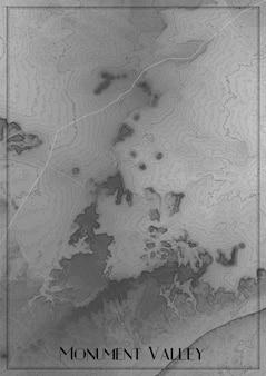 Карта долины монументов, аризона. карта высот национального парка. концептуальная карта рельефа поверхности. топографическая схема плаката.