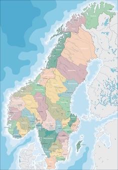 노르웨이와 스웨덴의지도