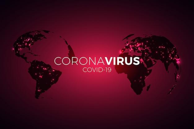 パンデミアの地図はコロナウイルスを広めました。ウイルスコビッド-19。世界的な流行の発生。