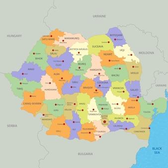 Карта румынии Premium векторы