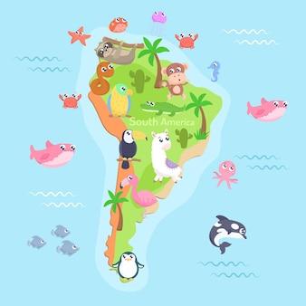 Карта южной америки с мультяшными животными для детей. плоский дизайн.