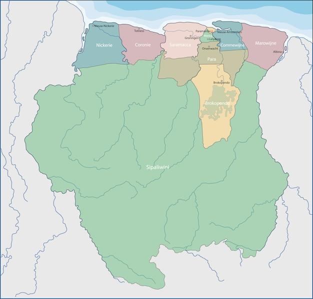 Карта суринама