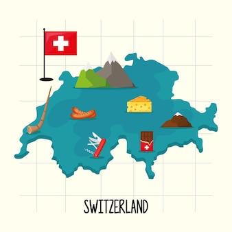 랜드 마크가있는 스위스지도