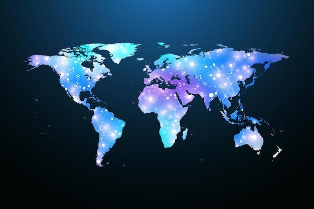 惑星の地図。グローバルソーシャルネットワーク。フローティングブループレックスの幾何学的な背景。インターネットとテクノロジー。ベクトルイラスト。