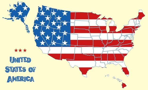 아메리카 합중국의 지도입니다. 모든 주의 경계, 흰색 별, 국가 영토에 빨간색 줄무늬가 있는 영토 전역의 미국 국기, 미국 지리 벽지 벡터 배경