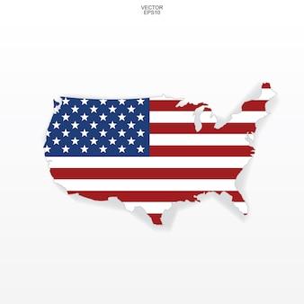 アメリカの旗のパターンとアメリカの地図。柔らかい影と白い背景の上の「アメリカ合衆国」マップの概要。ベクトルイラスト。