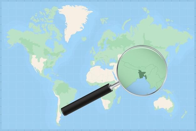 방글라데시 지도에 돋보기가 있는 세계 지도.