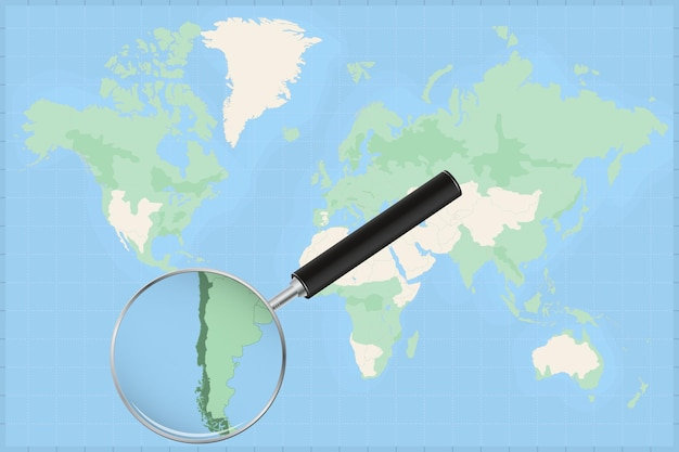 칠레 지도에 돋보기가 있는 세계 지도.