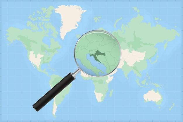 크로아티아 지도에 돋보기가 있는 세계 지도.