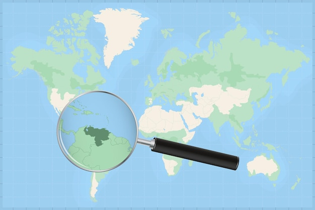 베네수엘라 지도에 돋보기가 있는 세계 지도.