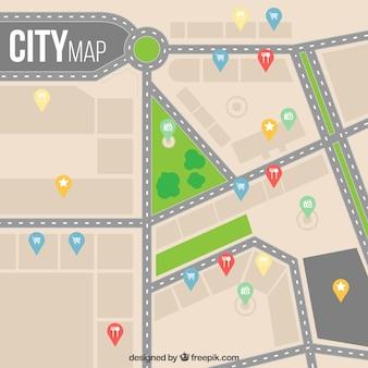 Карта города в плоском дизайне